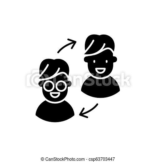 Customer transformation black icon, vector sign on isolated background   Customer transformation concept symbol, illustration