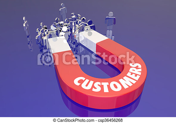 Customers Magent Attracting New People Prospects Word - csp36456268