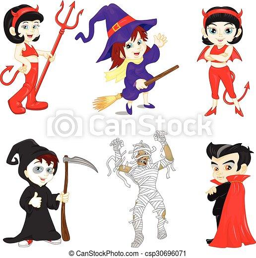 Customes, halloween, kinder. Reizend, wenig, gruppe,... Vektoren ...