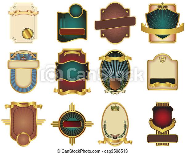 customizable, gabarits, 12, vecteur, étiquette - csp3508513