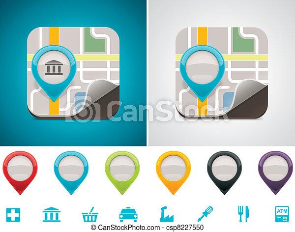 customizable, karta, lokalisering, ikon - csp8227550