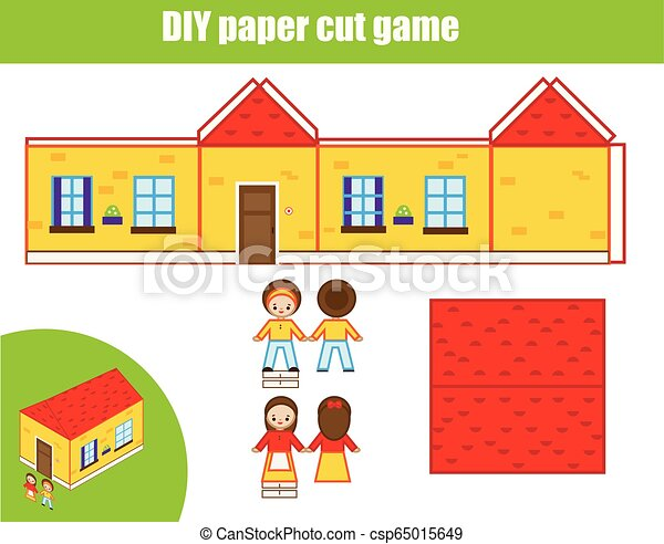 Cut And Glue Paper Game Educational Children Diy Craft Worksheet Make House Model