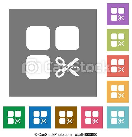 Cut component square flat icons - csp64880800