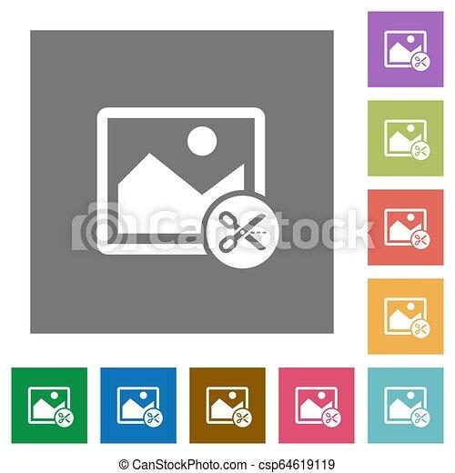 Cut image square flat icons - csp64619119