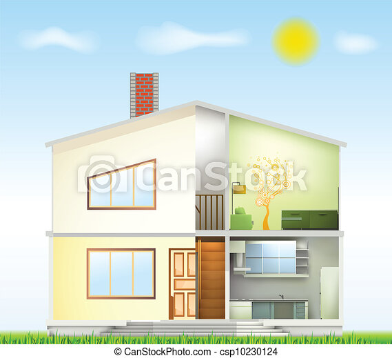 Cut in house interiors and part facade. Vector - csp10230124