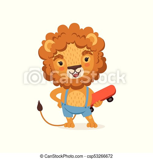Cut kid lion cartoon character wearing shorts on suspenders cut kid lion cartoon character wearing shorts on suspenders and holding skateboard playful baby voltagebd Images