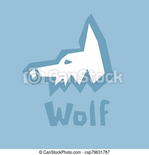 cut., linien, brutal, kopf, diy, profil, abstrakt, englisches , karte, blaues, text., style., ikone, dick, wolf, lernen, interaktiv, papier, weißes, alphabet., schablone, schnitt, outline., silhouette, modern - csp79631787