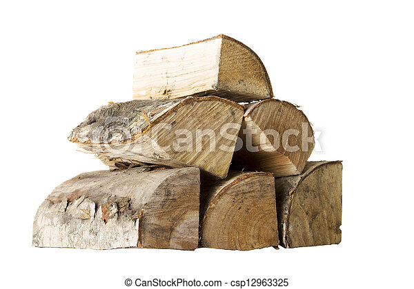 Cut log fire wood from birch-tree. - csp12963325