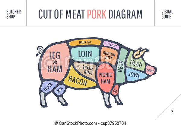 Cut Of Meat Set Poster Butcher Diagram Scheme And Guide Pork