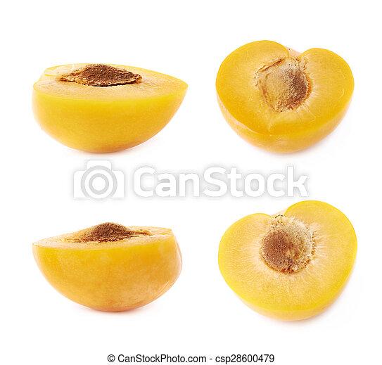 Cut open plum half isolated - csp28600479