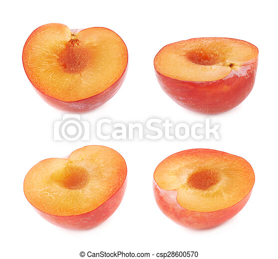 Cut open plum half isolated - csp28600570