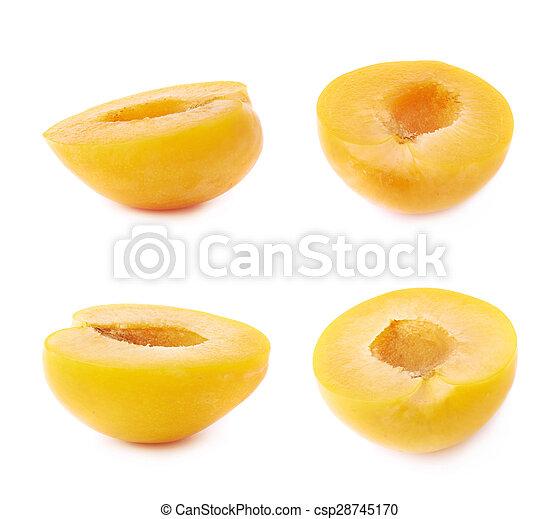 Cut open plum half isolated - csp28745170