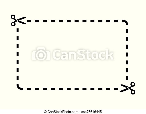 Cut Out Coupon Rectangle Shape With Scissors Icon Coupon Rectangle Template On White Background Drawing By Illustration