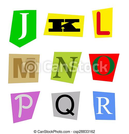 Cut out letters j to r colorful alphabet cut out from magazine cut out letters j to r csp28833162 spiritdancerdesigns Choice Image