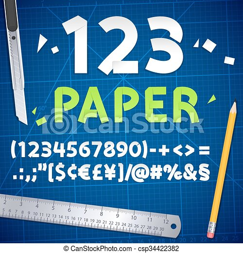 Cut Out Paper Numbers and Equipment Set - csp34422382