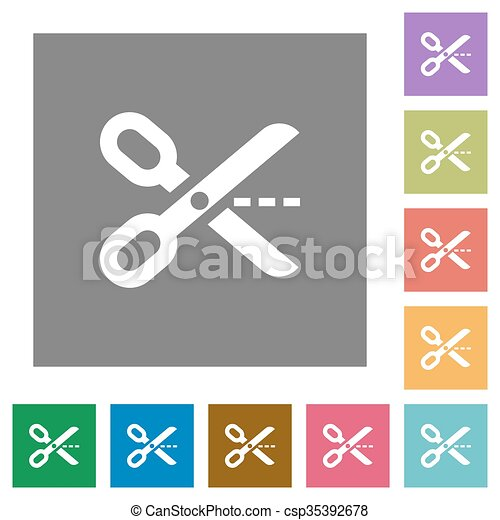 Cut out square flat icons - csp35392678
