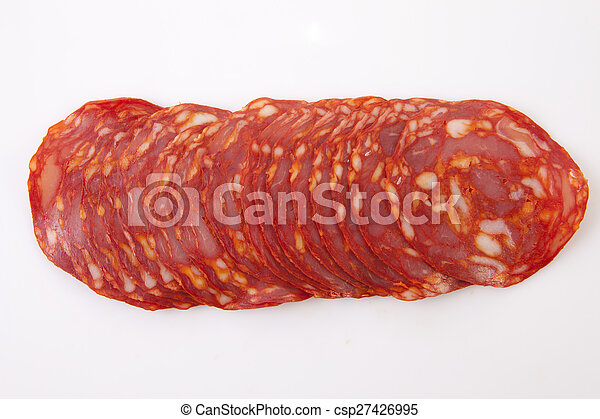 Cut slices of red iberian chorizo - csp27426995