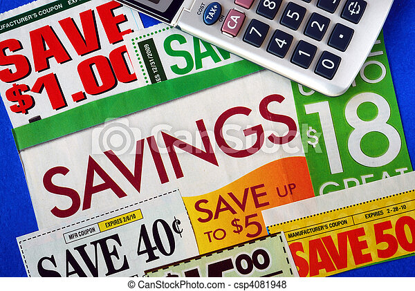 Cut up some coupons to save money  - csp4081948