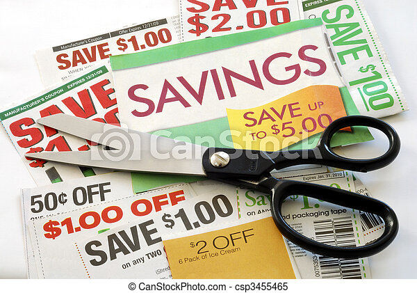 Cut up some coupons to save money  - csp3455465