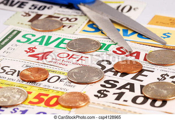 Cut up some coupons to save money  - csp4128965