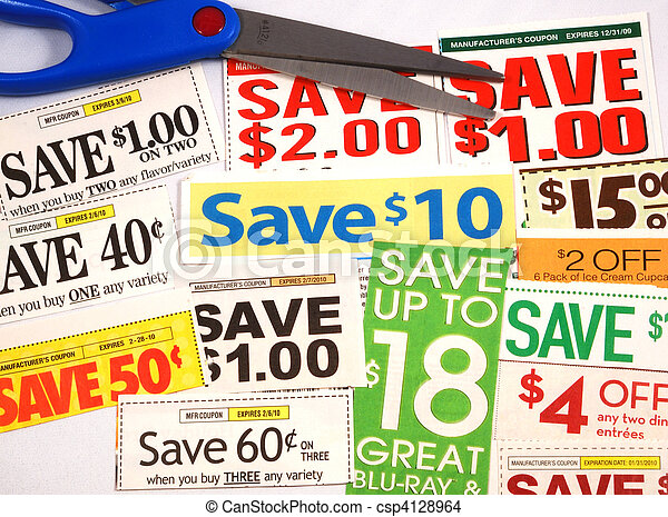 Cut up some coupons to save money  - csp4128964