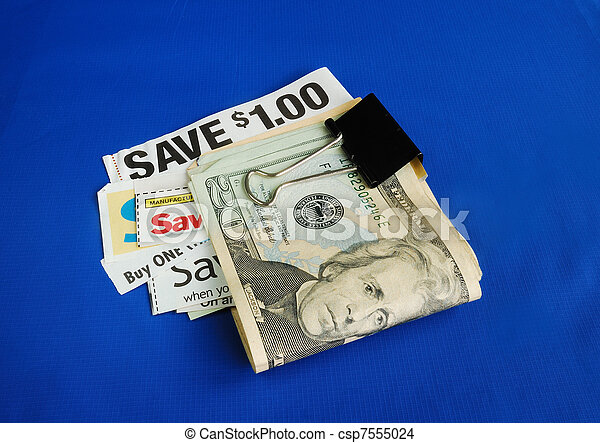 Cut up some coupons to save money  - csp7555024