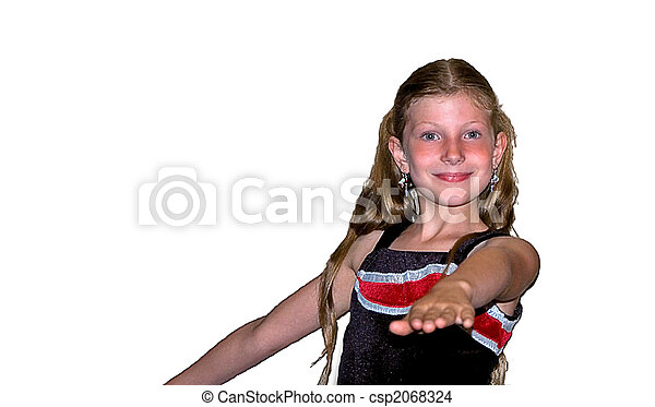 Cute 8 Year Old Girl In Sports Costume - csp2068324