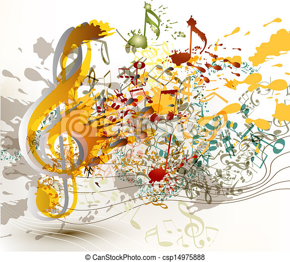 Cute abstract music background with notes and staves for your design - csp14975888