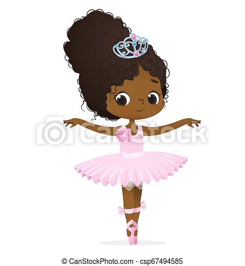 4b0279fc56ed0 Cute african pink princess girl ballerina dance isolated. afro ...