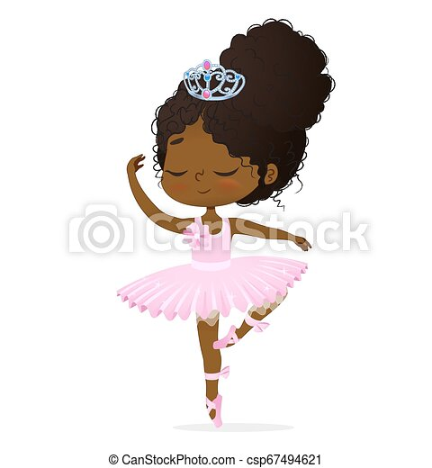 Cute African Princess Baby Girl Ballerina Dance Isolated Afro Ballet Dancer Elegant Female Character Action Drawing Candy