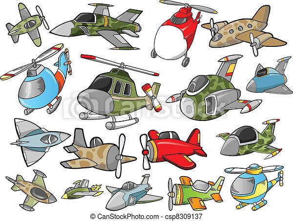 Cute Aircraft Vector Design set - csp8309137