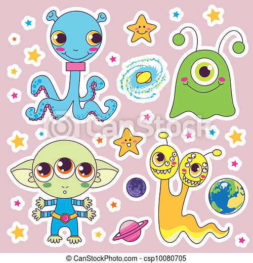 Cute alien monsters Four sweet cute child alien monsters with