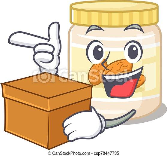 Cute almond butter cartoon character having a box - csp78447735