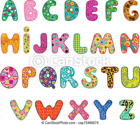 Cute Alphabet Cute Colored Textured Alphabet Letters Made With