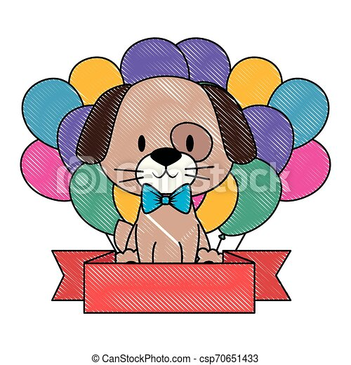 cute and adorable dog with balloons helium - csp70651433