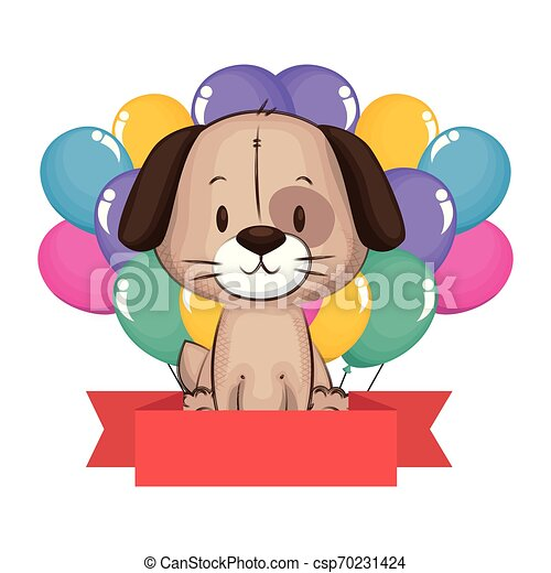 cute and adorable dog with balloons helium - csp70231424