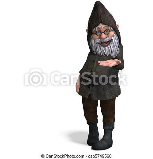 cute and funny cartoon garden gnome.3D rendering and shadow over white - csp5749560