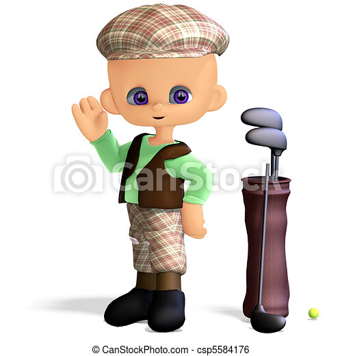 cute and funny cartoon golf player. 3D rendering and shadow over white - csp5584176