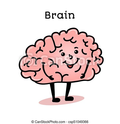Cute and funny human brain character - csp51049366