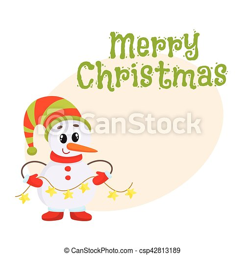 Cute and funny little snowman holding a garland, vector illustration ...
