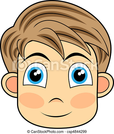 Vector Illustration Of A Cute And Happy Looking Face Of A Young Boy