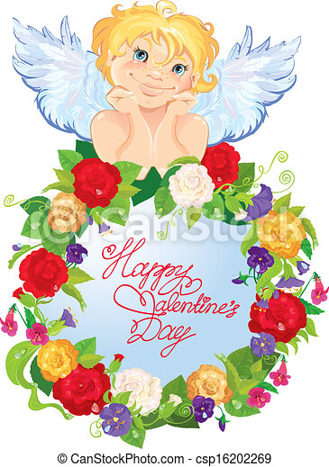 Cute Angel With Flowers Valentines Day Card Design