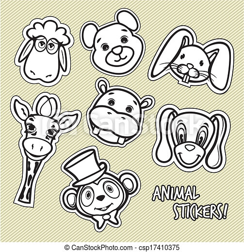 Cute animal card  - csp17410375