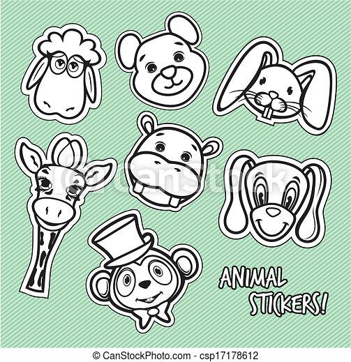 Cute animal card  - csp17178612