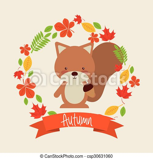cute animal fall design - csp30631060