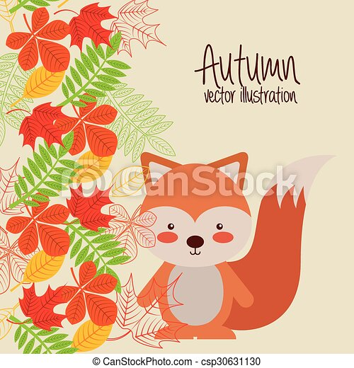 cute animal fall design - csp30631130