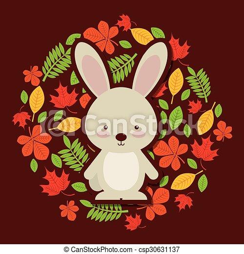 cute animal fall design - csp30631137