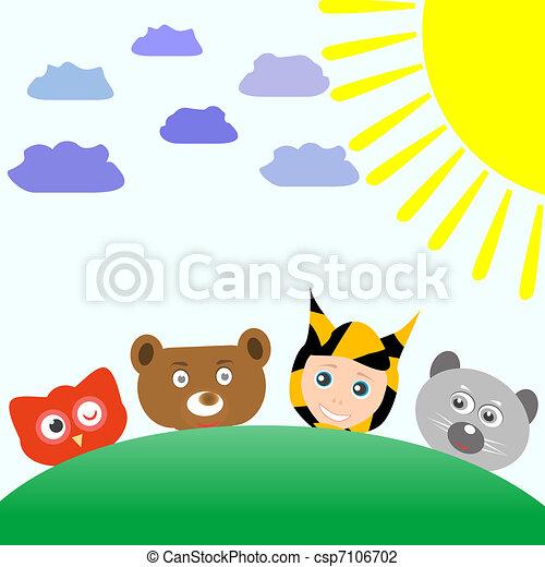 Cartoon cute animals and baby boy tiger on nature background cute animals and baby boy tiger vector voltagebd Images