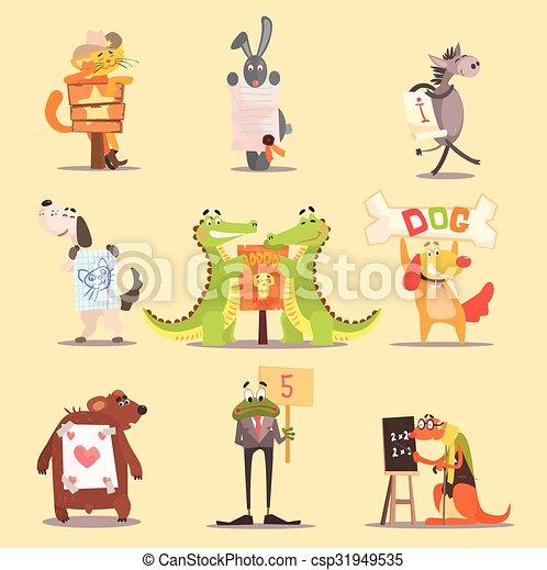 Cute Animals Cartoon Illustrator Flat Design - csp31949535