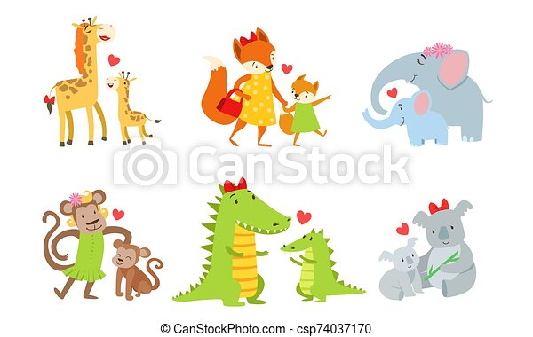 Cute animals couple mom and baby. Vector illustration. - csp74037170